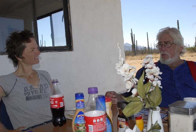 Arlene and Simon enjoying breakfast somewhere south of Catavina