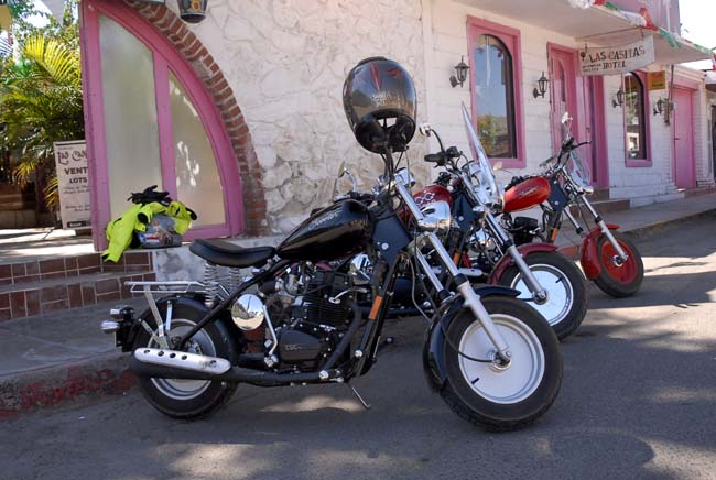 The bikes cooling their jets in Mulege