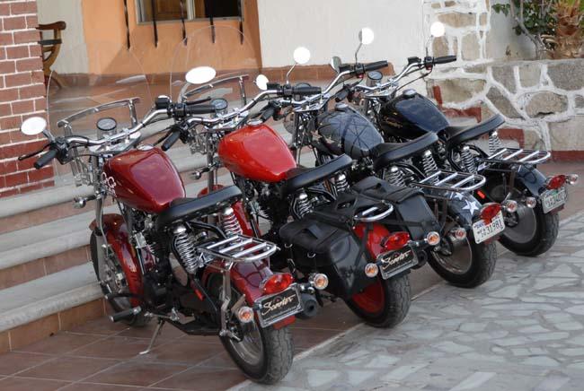 Our bikes parked in front of the Desert Inn Hotel in Catavina...several hundred miles into Baja
