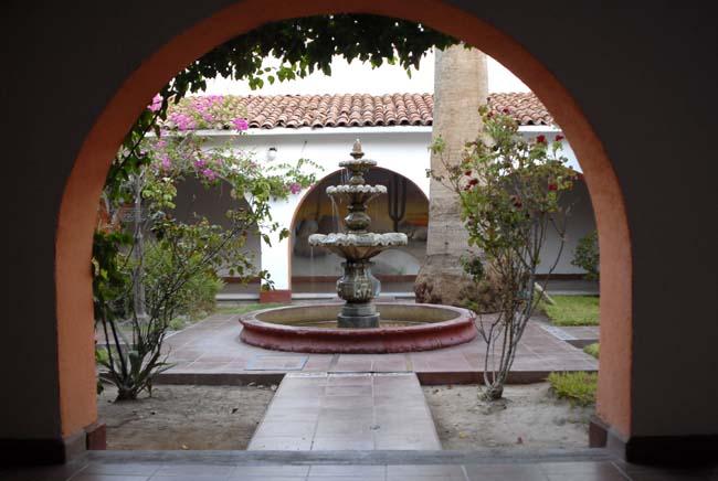 The Catavina Desert Inn Hotel courtyard at dawn