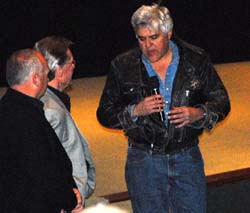 Jay Leno speaking at the Warner Brothers service for Bud Ekins