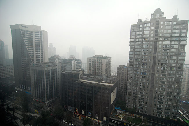 The view from our 21st floor hotel room...it stays misty in this mystical city!