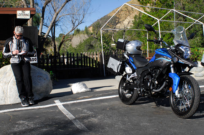 Charles, making notes up in the San Gabriel Mountains after riding the CSC Cyclone