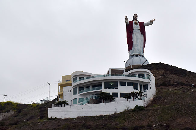 Jesus, a giant statue on the way to Ensenada