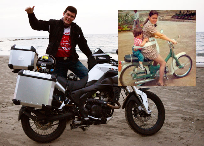 Then and now...Juan on the shores of the Caribbean during our recent Colombia moto adventure, and riding with Mom as a child!