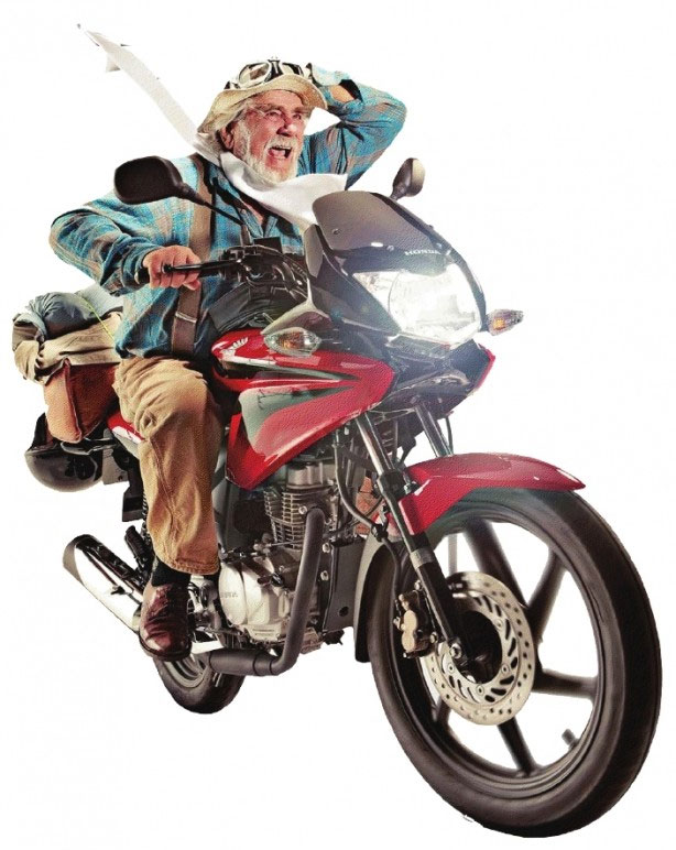 Simon Gandolfi on one of the CG-engine motorcycles used for his world travels