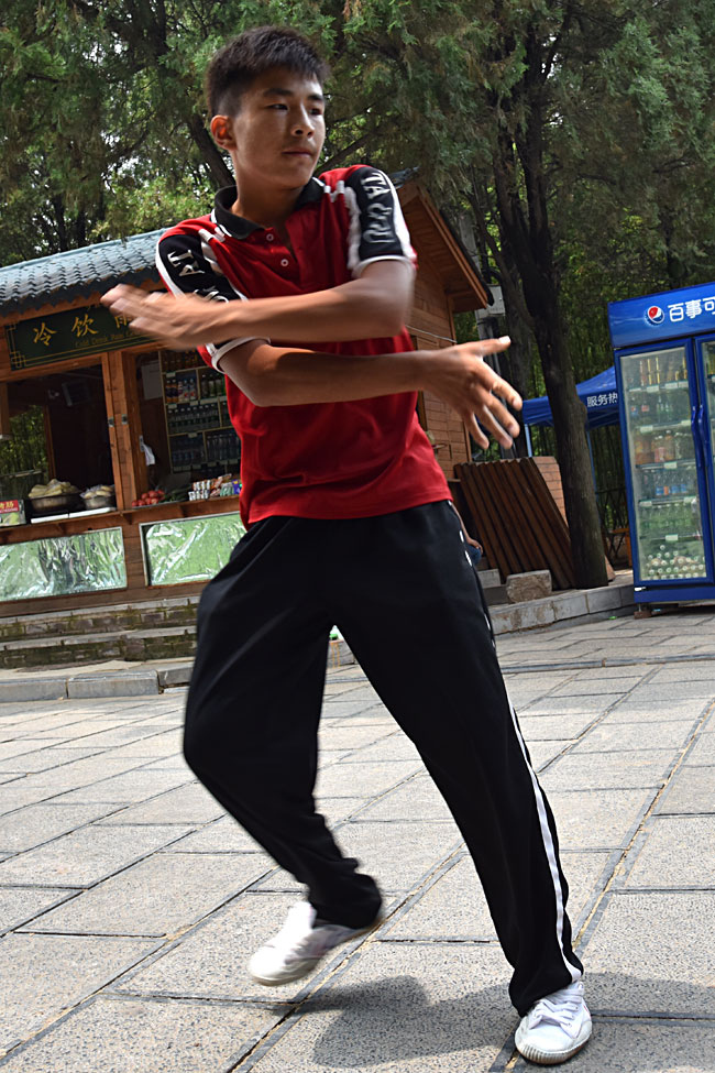 A martial artist demonstrating his moves at the Shaolin Temple.