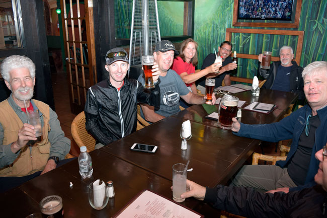 Dinner this evening in Ensenada, with the gang enjoying a beer or two after a great ride!