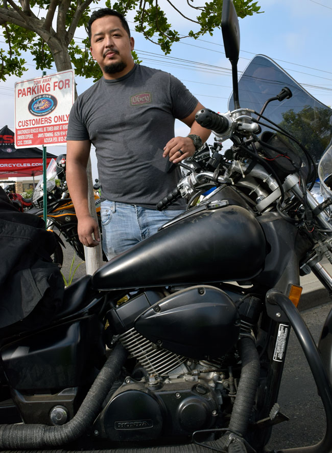 Alejandro and his dark Honda Shadow