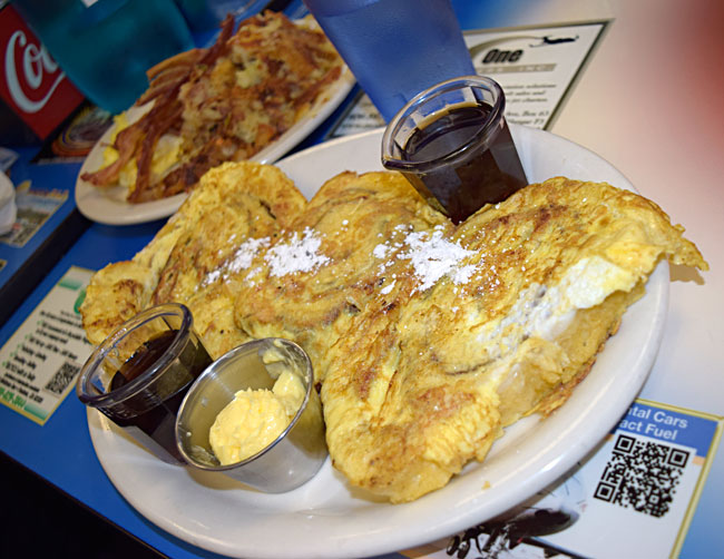 French toast, bacon, hash browns, and more...