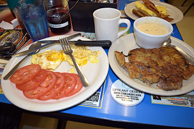 Chicken fried steak and eggs...the tomatoes make it healthy!