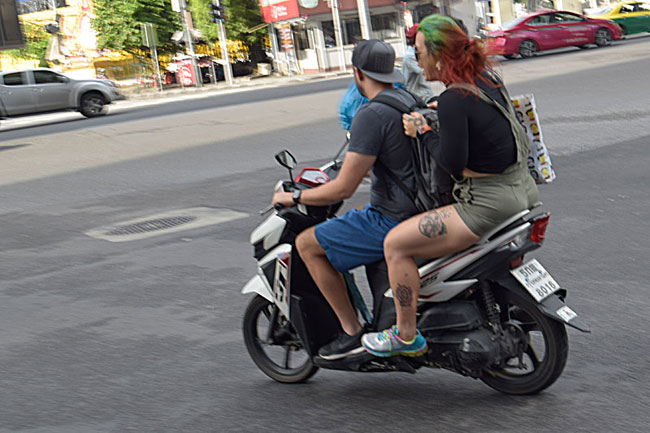 Tattoos, red and green hair...I'd fit right in on any of the CSC company rides!